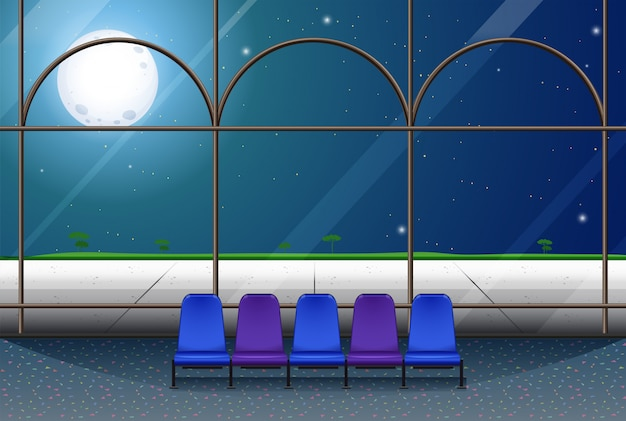 満月の夜の建物の部屋