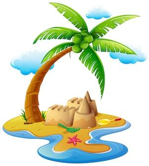 島の砂の城と海のシーン