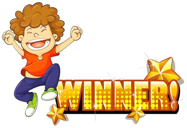 Мальчик прыгает и знак победителя