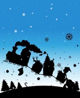クリスマスものでいっぱいのシルエット列車