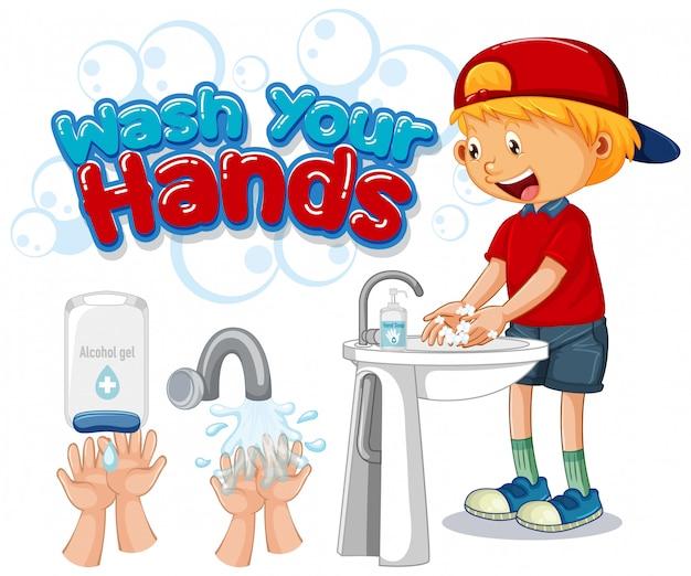 Вымойте свои руки дизайн плаката со счастливым мальчиком