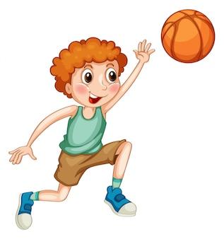 Мальчик играет в баскетбол в одиночку