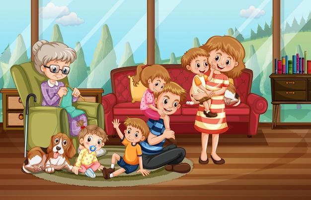 自宅で幸せな家族