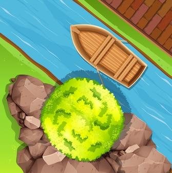 ストリームでのボートの航空写真