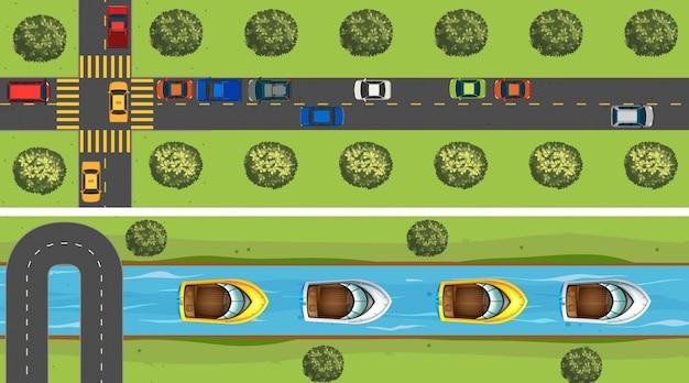 車でいっぱいの道路の空景