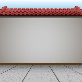 Сцена со стеной и красной крышей