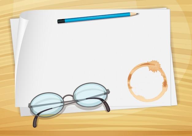 鉛筆、眼鏡、コーヒーの汚れがある空のボンドペーパー