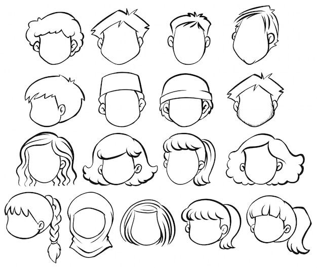 異なるヘアスタイルを持つ顔のない人