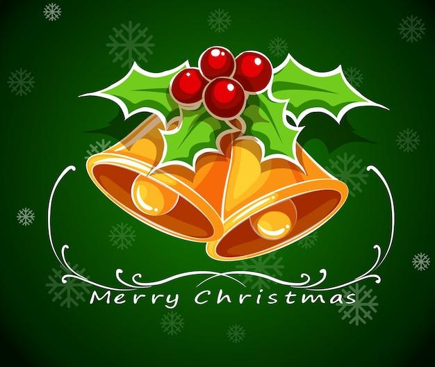 緑色のクリスマスカードテンプレート、鐘とポインセチア植物