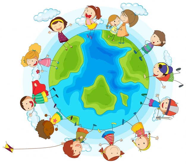 世界中の多くの子供たち