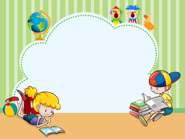 子供たちが本を読むボーダーテンプレート