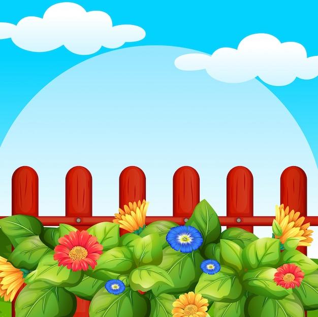 庭に花がある背景のシーン