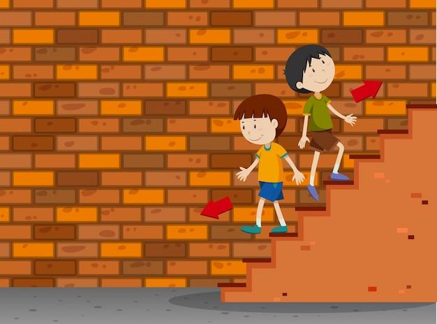 男の子は階段を上下に歩いている