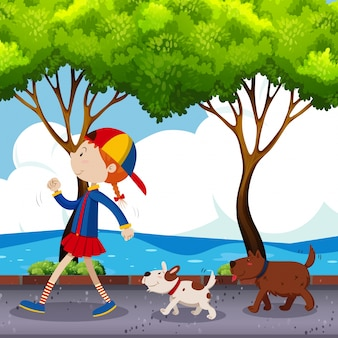 Девочка и две собаки ходят по улице