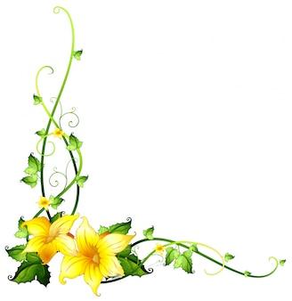 黄色い花のボーダーテンプレート