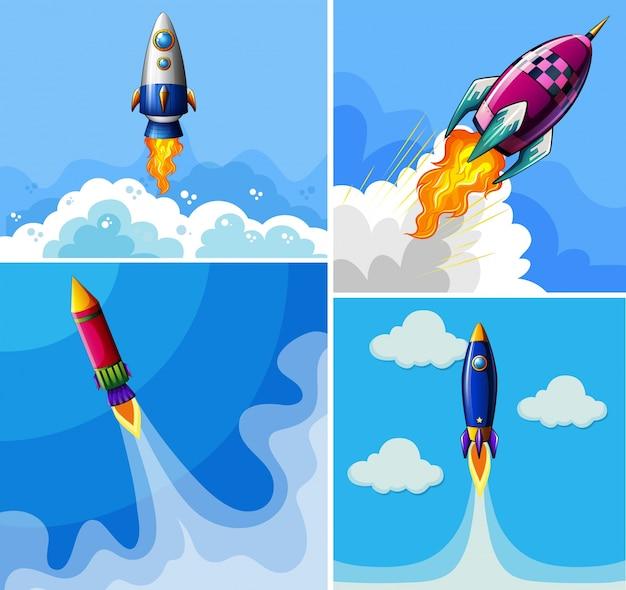 Ракеты, летящие в голубом небе