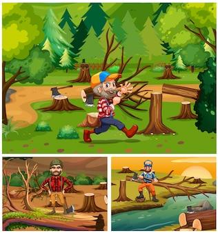 森林の木材ジャッキ