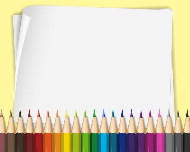 Пустая бумага с цветными карандашами