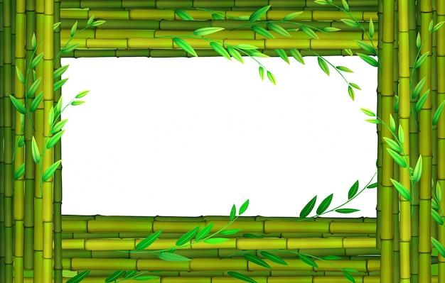 竹のスティック付きのボーダーデザイン