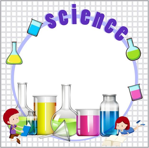 子供と科学機器とのボーダーデザイン