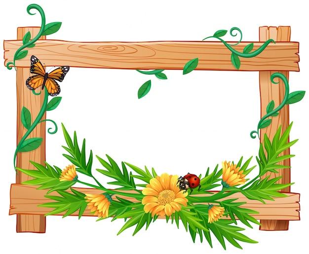 Деревянная рамка с цветами и насекомыми