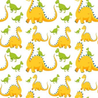 Бесшовный фон с желтыми и зелеными динозаврами