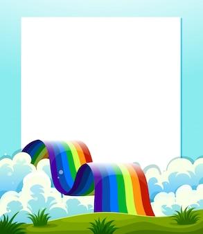 底に虹のある空の紙のテンプレート