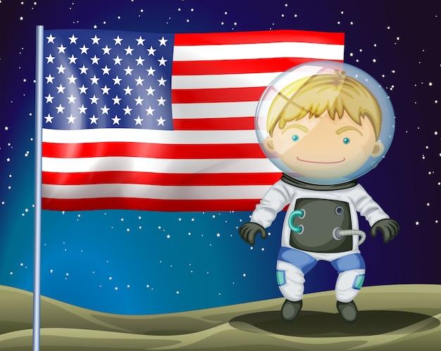 Исследователь рядом с флагом америки