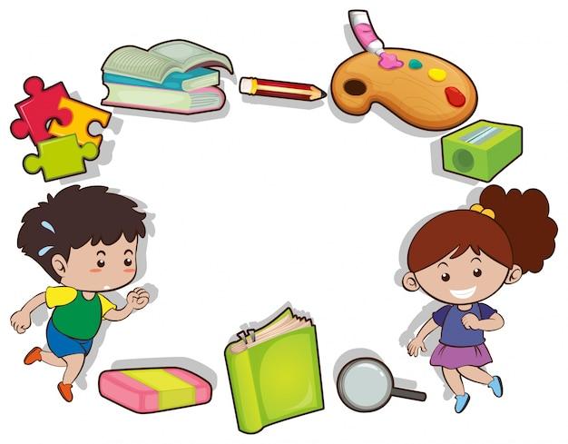 Пограничный дизайн с детьми и канцелярскими принадлежностями