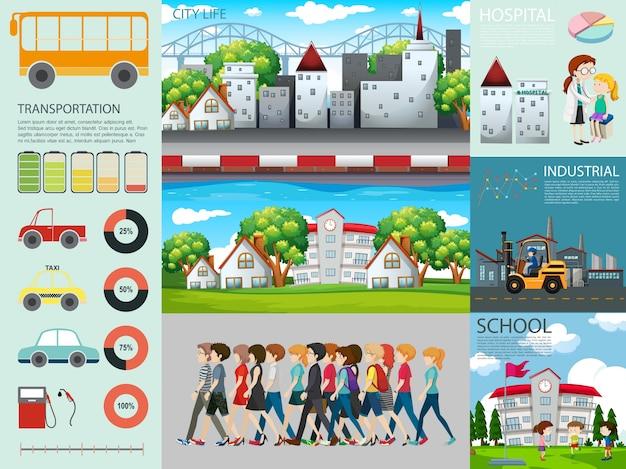 Инфографический дизайн с людьми и различными настройками