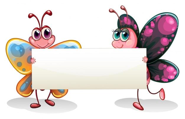 Две красочные бабочки с пустой баннер