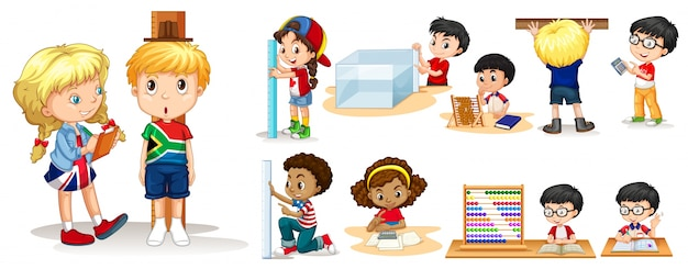 さまざまなツールで物を測定する多くの子供たち