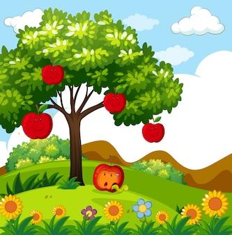 公園の赤リンゴの木