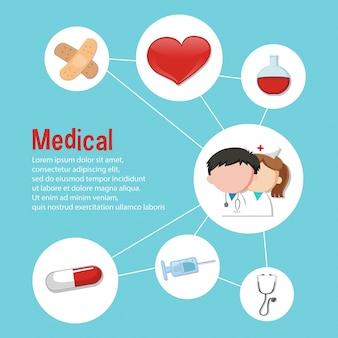 医療テーマのためのインフォグラフィックデザイン