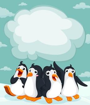 Группа пингвинов на льду