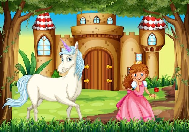 Сцена с принцессой и единорогом