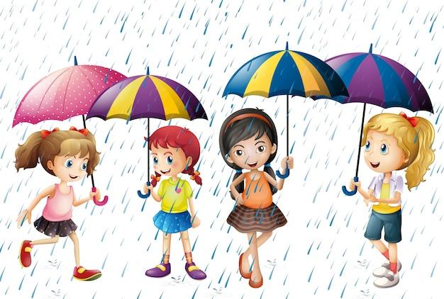 Четверо детей с зонтиком находятся под дождем
