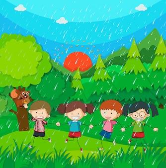 公園で子供たちと一緒に雨のシーン