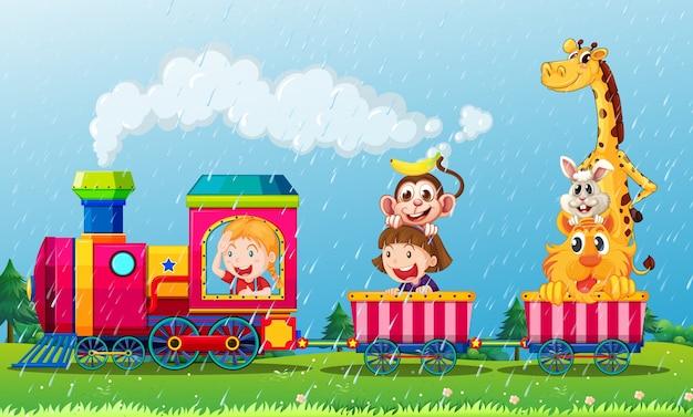 列車で動物と一緒に雨が降るシーン