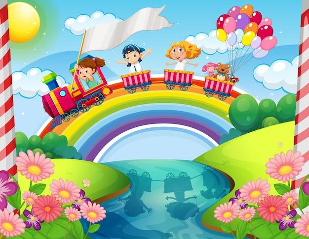 Дети, едущие на поезде над радугой