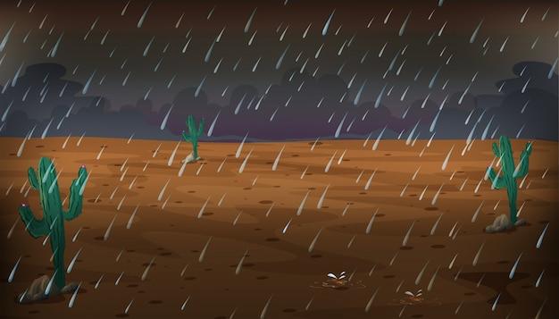 雨の日の砂漠の風景