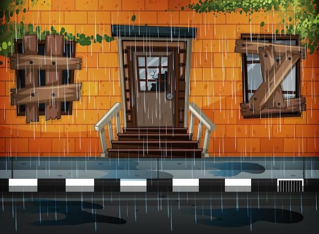 古い建物と雨の日
