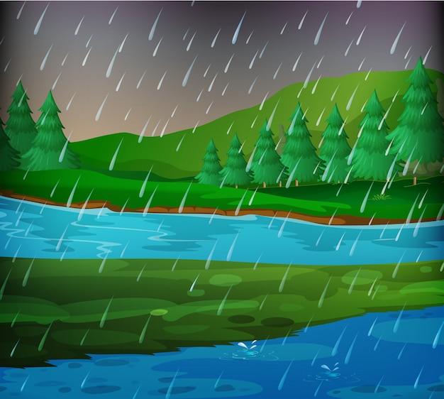 雨の日の川の風景