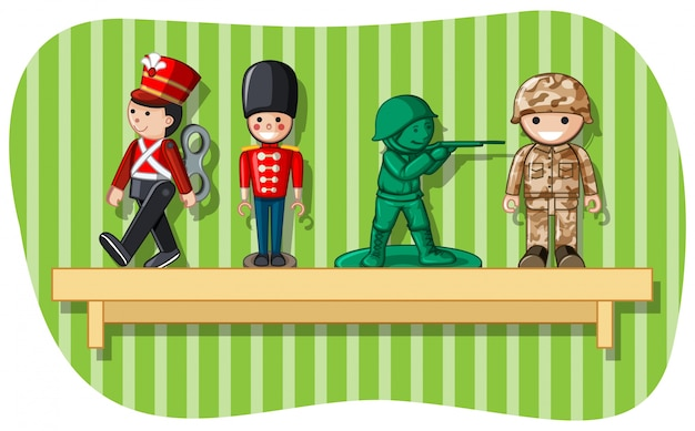 木の棚の兵士の数字
