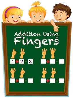 子供たちとボード上の質問のある数学ワークシート