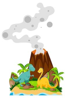 Два динозавра у основания вулкана
