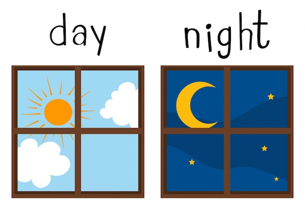 昼と夜の反対のワードカード