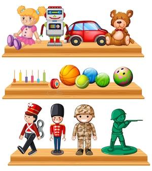 棚の異なる人形やボール
