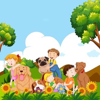 Дети и домашние собаки в саду