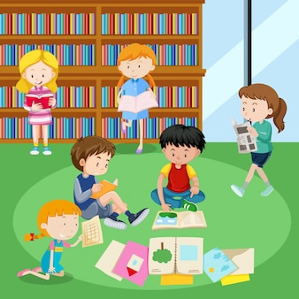 図書館で読んでいる学生